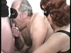 Bisexual daddy fucking with friend and wife